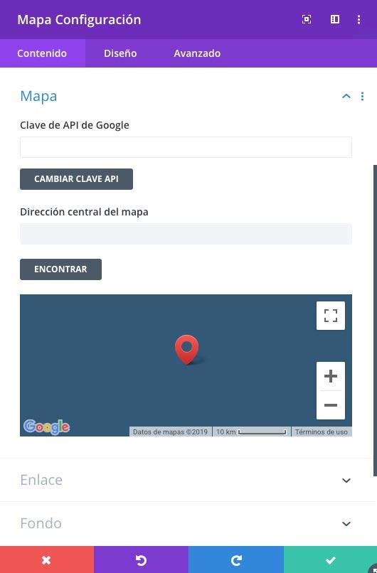 Opciones generes del tema Divi: Clave API de Google