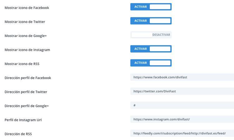 Opciones generes del tema Divi: iconos de redes sociales y RSS