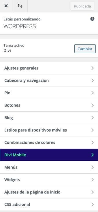 personalizar el menú móvil de Divi